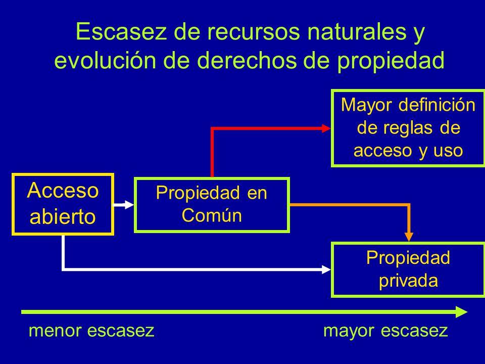 Escasez de recursos naturales y evolución de derechos de propiedad Acceso abierto Propiedad en Común Propiedad privada Mayor definición de reglas de acceso y uso menor escasezmayor escasez