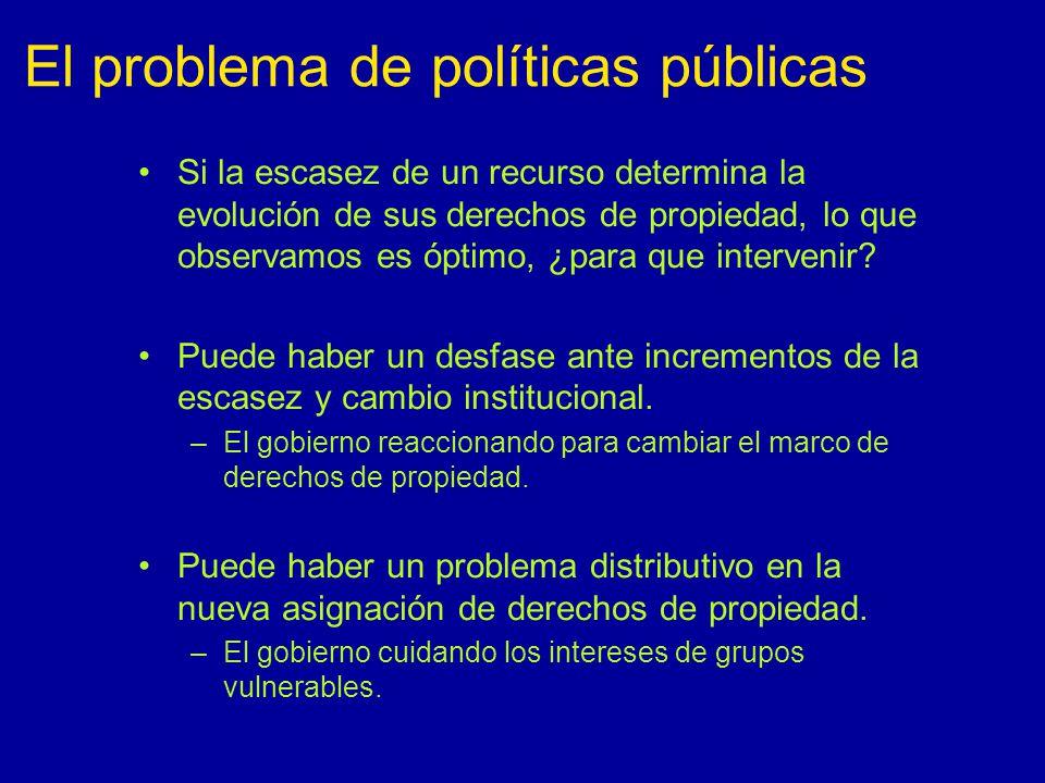El problema de políticas públicas Si la escasez de un recurso determina la evolución de sus derechos de propiedad, lo que observamos es óptimo, ¿para que intervenir.