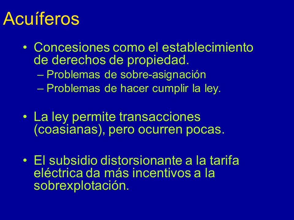 Acuíferos Concesiones como el establecimiento de derechos de propiedad.