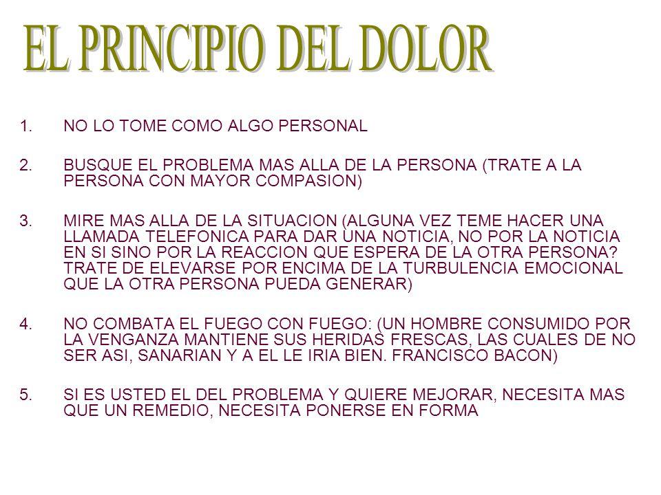 1.NO LO TOME COMO ALGO PERSONAL 2.BUSQUE EL PROBLEMA MAS ALLA DE LA PERSONA (TRATE A LA PERSONA CON MAYOR COMPASION) 3.MIRE MAS ALLA DE LA SITUACION (
