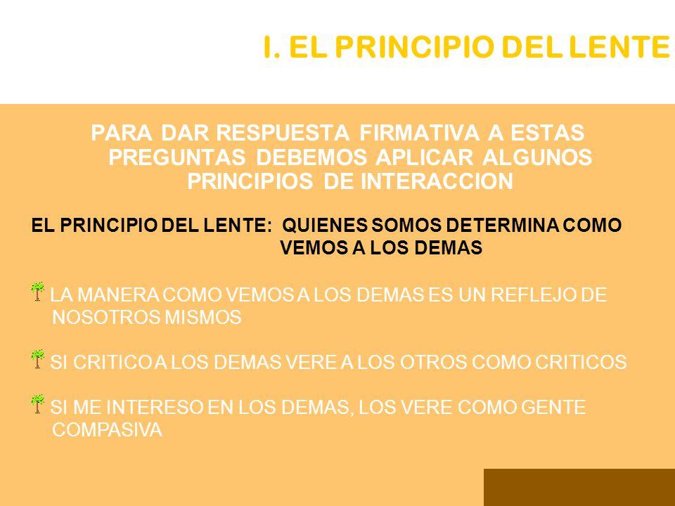 PARA DAR RESPUESTA FIRMATIVA A ESTAS PREGUNTAS DEBEMOS APLICAR ALGUNOS PRINCIPIOS DE INTERACCION I. EL PRINCIPIO DEL LENTE EL PRINCIPIO DEL LENTE: QUI