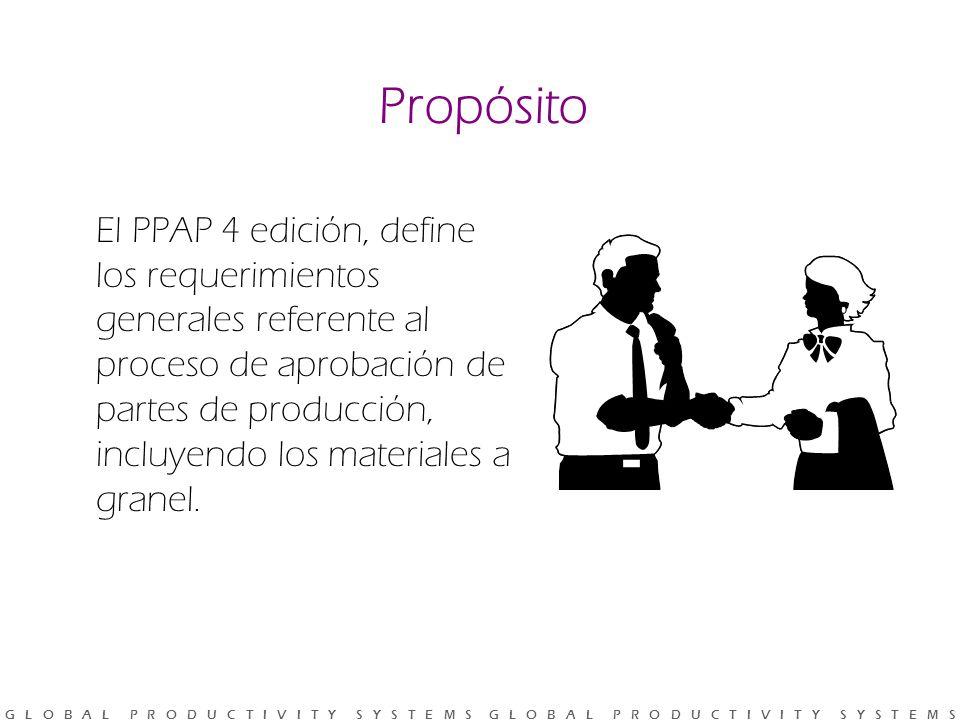 G L O B A L P R O D U C T I V I T Y S Y S T E M S G L O B A L P R O D U C T I V I T Y S Y S T E M S Propósito El PPAP 4 edición, define los requerimientos generales referente al proceso de aprobación de partes de producción, incluyendo los materiales a granel.