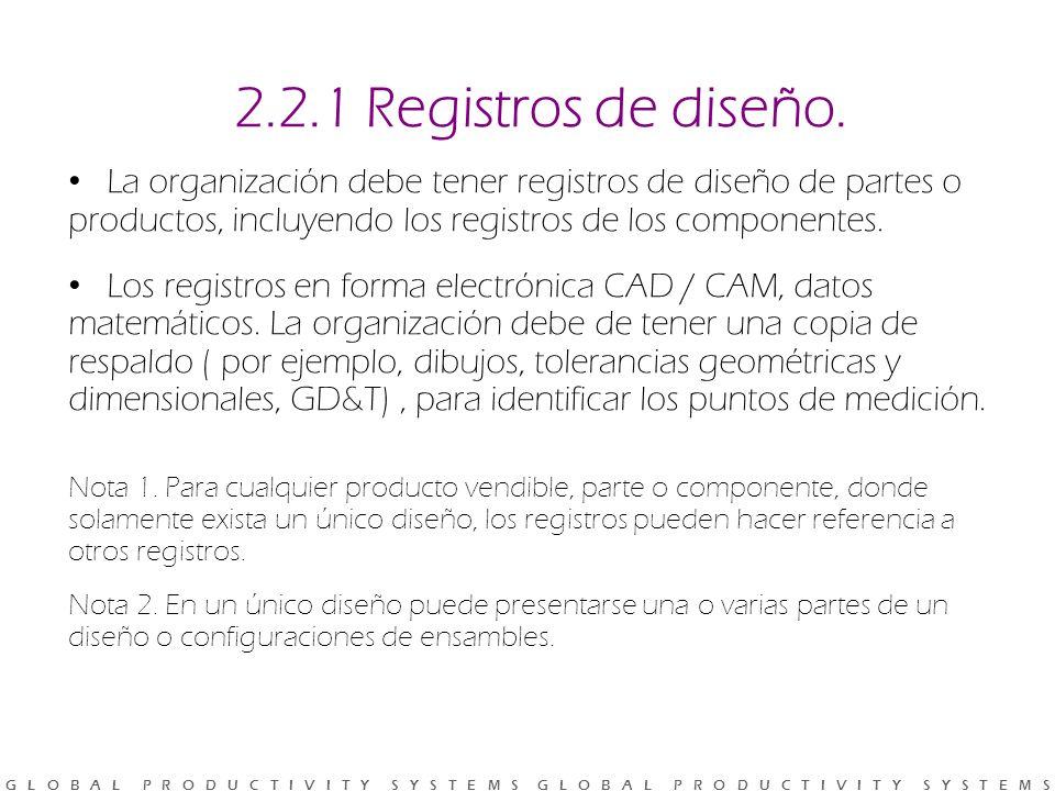 G L O B A L P R O D U C T I V I T Y S Y S T E M S G L O B A L P R O D U C T I V I T Y S Y S T E M S 2.2.1 Registros de diseño.