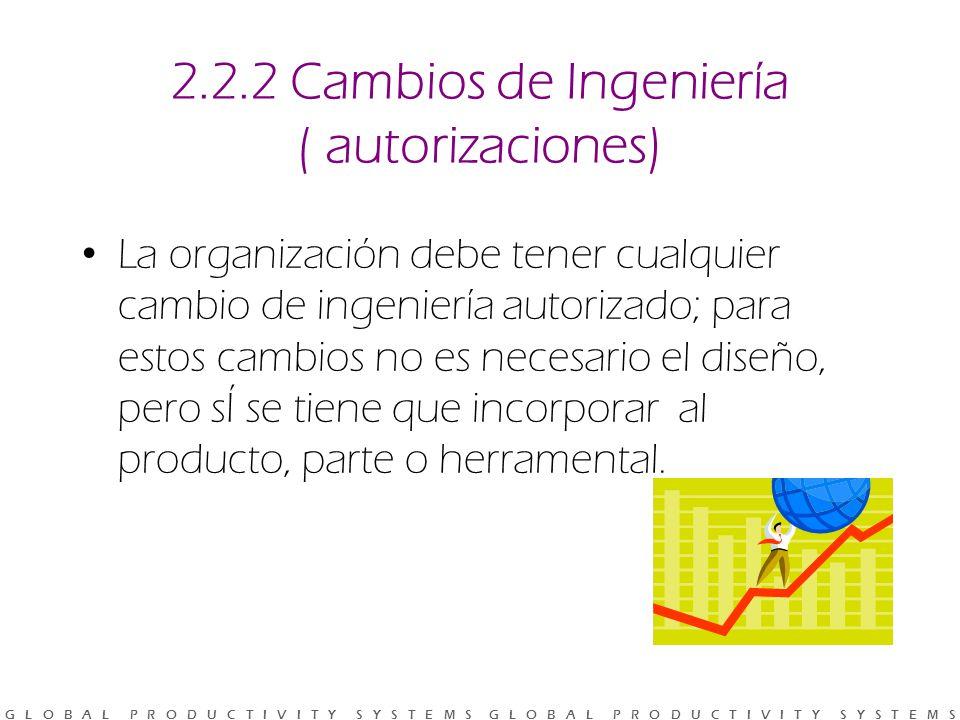 G L O B A L P R O D U C T I V I T Y S Y S T E M S G L O B A L P R O D U C T I V I T Y S Y S T E M S 2.2.2 Cambios de Ingeniería ( autorizaciones) La organización debe tener cualquier cambio de ingeniería autorizado; para estos cambios no es necesario el diseño, pero sÍ se tiene que incorporar al producto, parte o herramental.