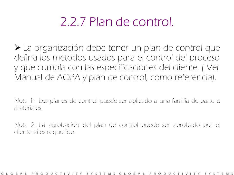 G L O B A L P R O D U C T I V I T Y S Y S T E M S G L O B A L P R O D U C T I V I T Y S Y S T E M S 2.2.7 Plan de control.