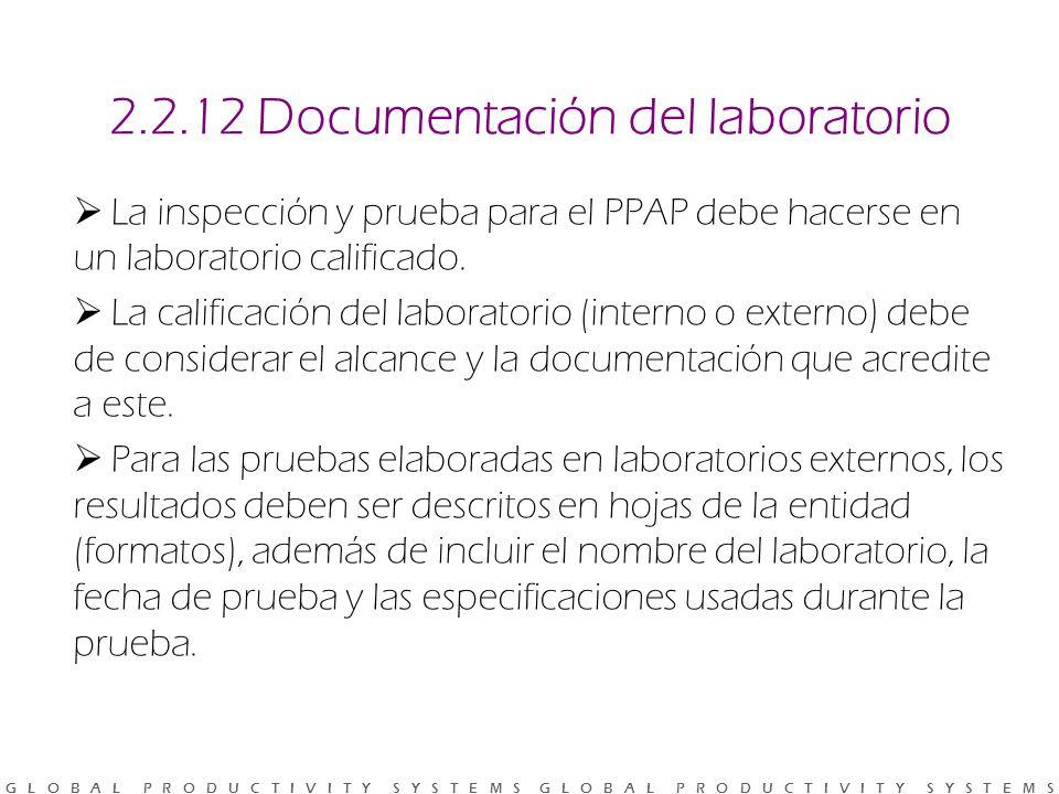 G L O B A L P R O D U C T I V I T Y S Y S T E M S G L O B A L P R O D U C T I V I T Y S Y S T E M S 2.2.12 Documentación del laboratorio La inspección y prueba para el PPAP debe hacerse en un laboratorio calificado.