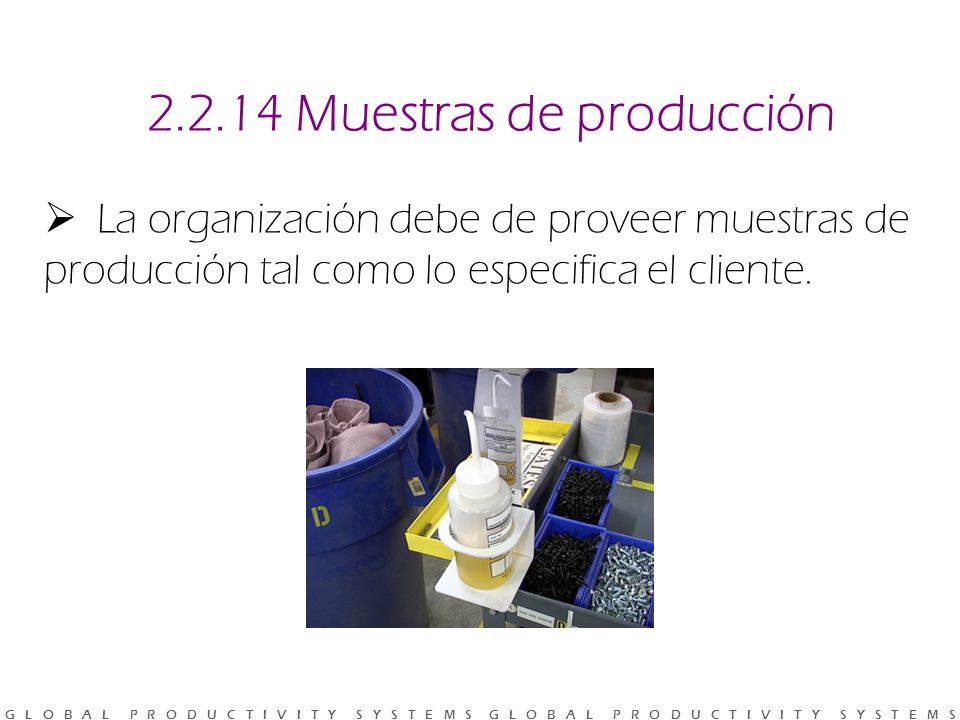 G L O B A L P R O D U C T I V I T Y S Y S T E M S G L O B A L P R O D U C T I V I T Y S Y S T E M S 2.2.14 Muestras de producción La organización debe de proveer muestras de producción tal como lo especifica el cliente.