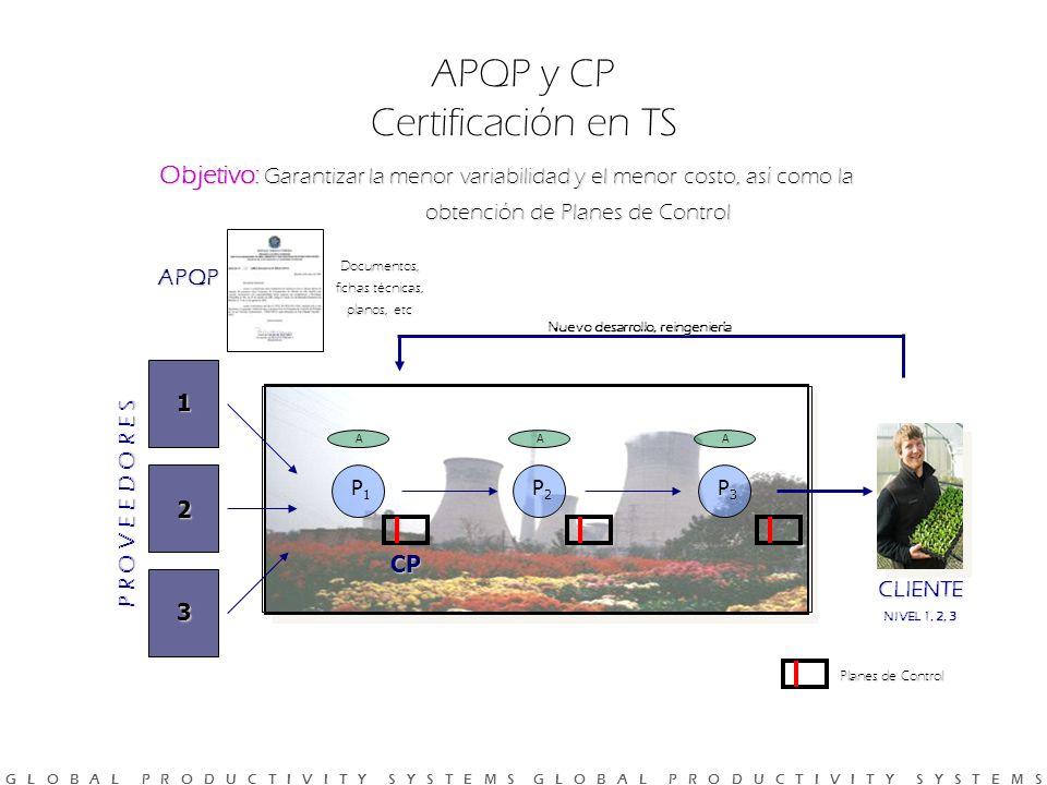 G L O B A L P R O D U C T I V I T Y S Y S T E M S G L O B A L P R O D U C T I V I T Y S Y S T E M S Objetivo: Garantizar la menor variabilidad y el menor costo, así como la obtención de Planes de Control APQP y CP Certificación en TS P R O V E E D O R E S 1 2 3 P1P1 P2P2 P3P3 AAA Nuevo desarrollo, reingeniería Documentos, fichas técnicas, planos, etc Planes de Control APQP CP CLIENTE NIVEL 1, 2, 3