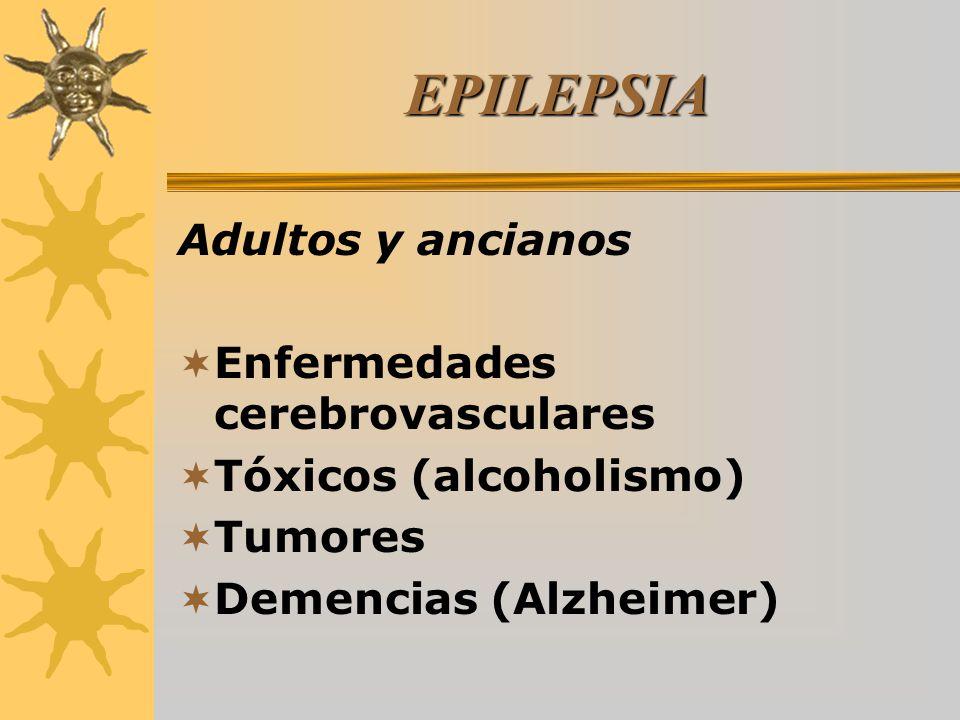 EPILEPSIA Adultos y ancianos Enfermedades cerebrovasculares Tóxicos (alcoholismo) Tumores Demencias (Alzheimer)
