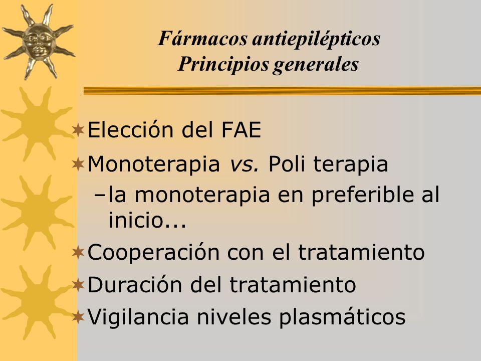 Fármacos antiepilépticos Principios generales Elección del FAE Monoterapia vs. Poli terapia –la monoterapia en preferible al inicio... Cooperación con