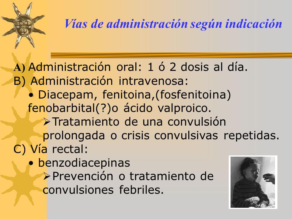 Vías de administración según indicación A) Administración oral: 1 ó 2 dosis al día. B) Administración intravenosa: Diacepam, fenitoina,(fosfenitoina)