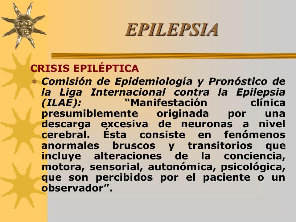 EPILEPSIA CRISIS EPILÉPTICA Comisión de Epidemiología y Pronóstico de la Liga Internacional contra la Epilepsia (ILAE): Manifestación clínica presumib