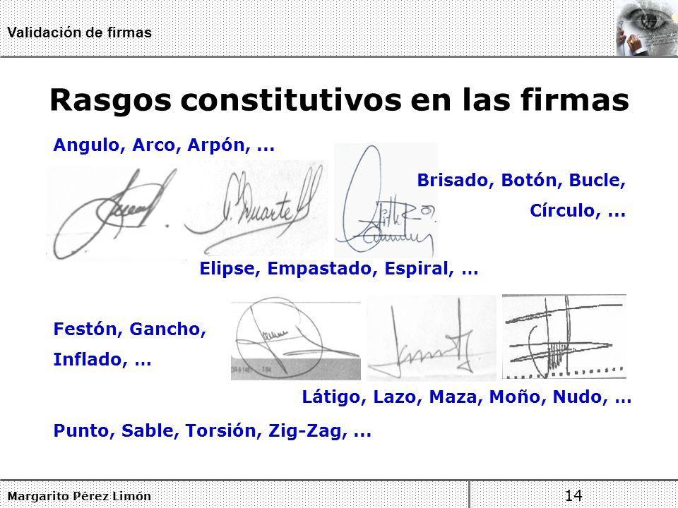 Rasgos constitutivos en las firmas Margarito Pérez Limón 14 Validación de firmas Angulo, Arco, Arpón,...