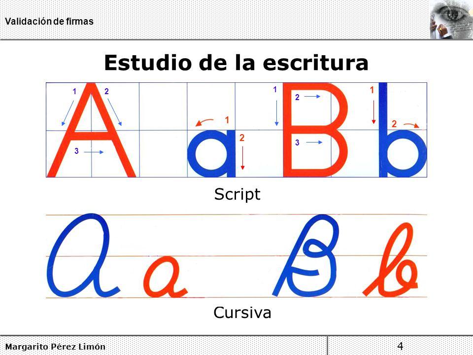 Estudio de la escritura Margarito Pérez Limón 4 Validación de firmas Script Cursiva 1 3 2 1 2 1 2 3 1 2