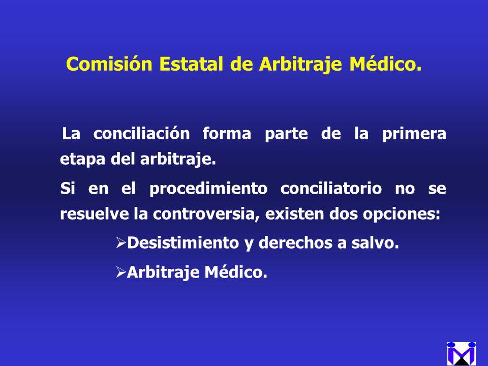 Comisión Estatal de Arbitraje Médico. La conciliación forma parte de la primera etapa del arbitraje. Si en el procedimiento conciliatorio no se resuel