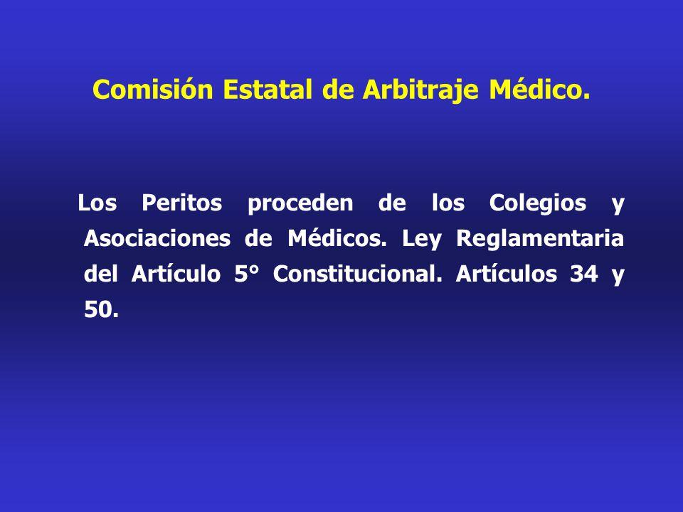 Comisión Estatal de Arbitraje Médico. Los Peritos proceden de los Colegios y Asociaciones de Médicos. Ley Reglamentaria del Artículo 5° Constitucional