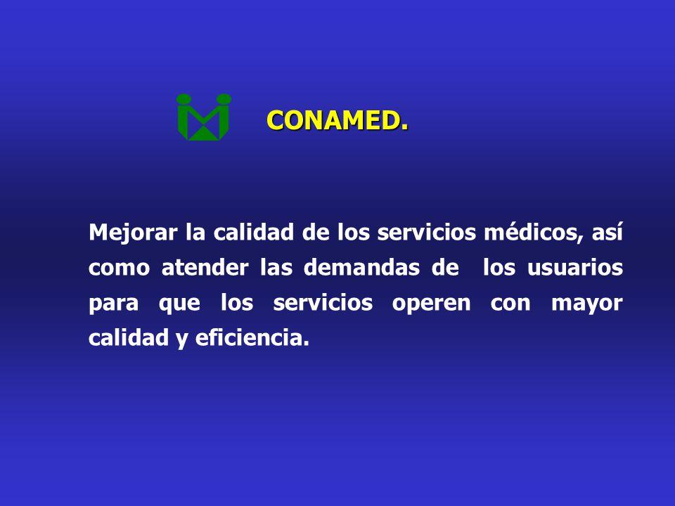 CONAMED. Mejorar la calidad de los servicios médicos, así como atender las demandas de los usuarios para que los servicios operen con mayor calidad y