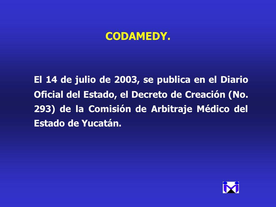 CODAMEDY. El 14 de julio de 2003, se publica en el Diario Oficial del Estado, el Decreto de Creación (No. 293) de la Comisión de Arbitraje Médico del