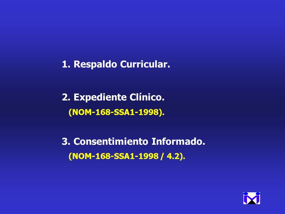 1.Respaldo Curricular. 2.Expediente Clínico. (NOM-168-SSA1-1998). 3.Consentimiento Informado. (NOM-168-SSA1-1998 / 4.2).