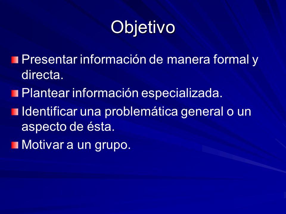 Presentar información de manera formal y directa. Plantear información especializada. Identificar una problemática general o un aspecto de ésta. Motiv