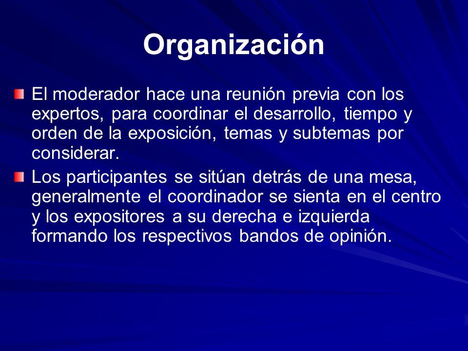 Organización El moderador hace una reunión previa con los expertos, para coordinar el desarrollo, tiempo y orden de la exposición, temas y subtemas po