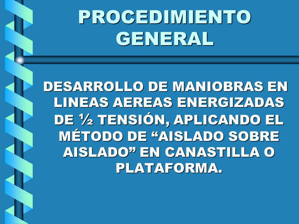 PROCEDIMIENTO GENERAL DESARROLLO DE MANIOBRAS EN LINEAS AEREAS ENERGIZADAS DE ½ TENSIÓN, APLICANDO EL MÉTODO DE AISLADO SOBRE AISLADO EN CANASTILLA O
