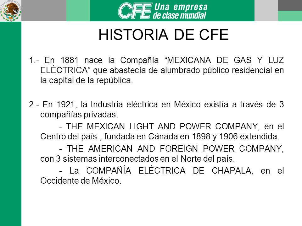 HISTORIA DE CFE 3.- El 18 de agosto de 1937 se crea por Decreto Presidencial la CFE, teniendo como objeto un Sistema Nacional de Generación, Transmisión y Distribución de Electricidad, basado en principios técnicos y económicos, sin fines de lucro y con un costo mínimo en beneficio de los intereses generales.