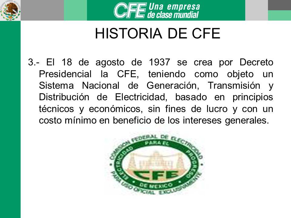 HISTORIA DE CFE 4.- Se concluye el 27 de septiembre de 1960 con la NACIONALIZACIÓN DE LA INDUSTRIA ELÉCTRICA, y se estableció la compra de empresas particulares, adquiriendo el 90% de las acciones de la MEXLIGHT, pasando a ser la Cía Mexicana de Luz y Fuerza.
