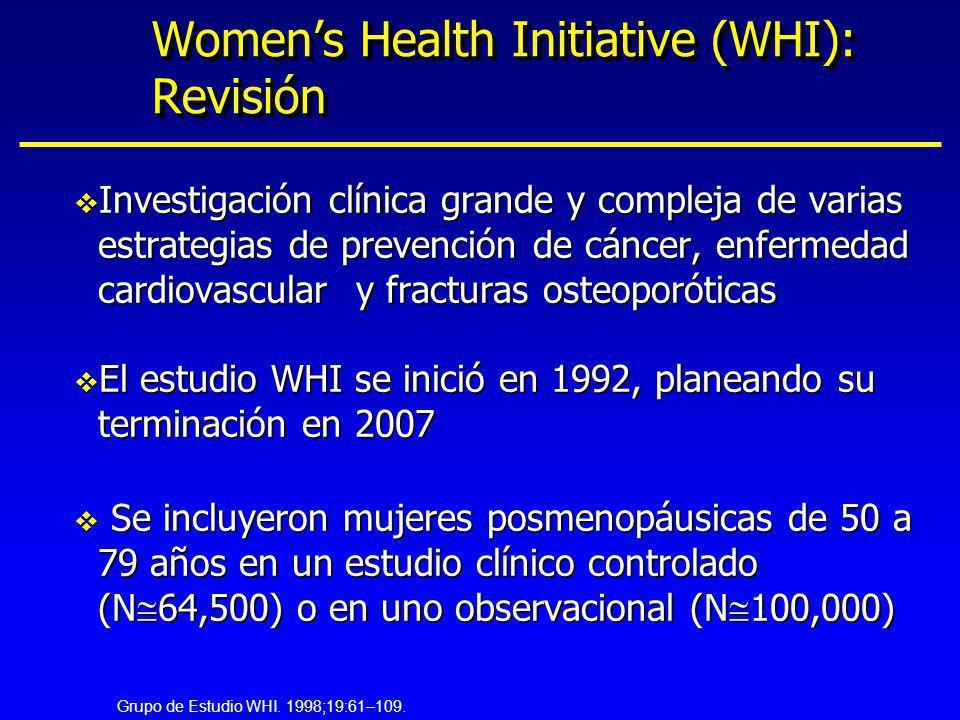 Womens Health Initiative (WHI): Revisión v Investigación clínica grande y compleja de varias estrategias de prevención de cáncer, enfermedad cardiovas