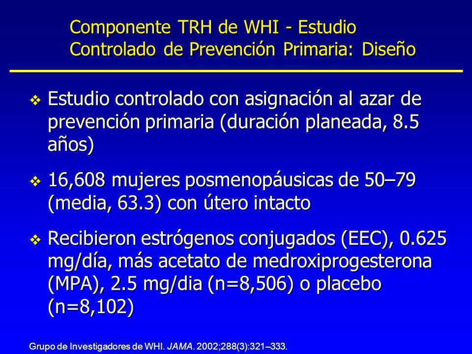 Componente TRH de WHI - Estudio Controlado de Prevención Primaria: Diseño v Estudio controlado con asignación al azar de prevención primaria (duración