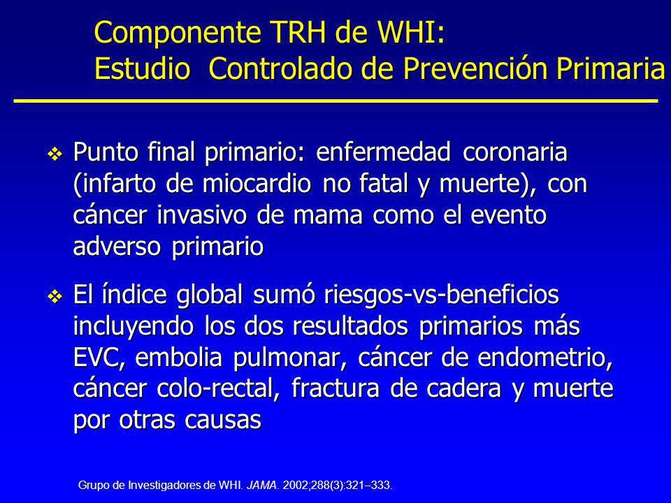 v Punto final primario: enfermedad coronaria (infarto de miocardio no fatal y muerte), con cáncer invasivo de mama como el evento adverso primario v E
