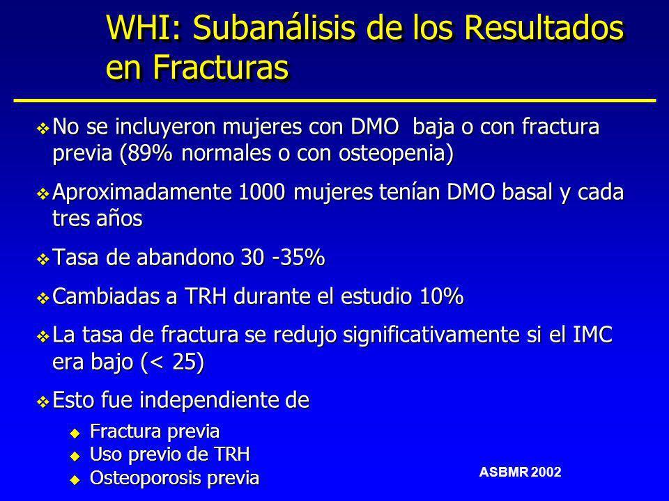 WHI: Subanálisis de los Resultados en Fracturas v No se incluyeron mujeres con DMO baja o con fractura previa (89% normales o con osteopenia) v Aproxi