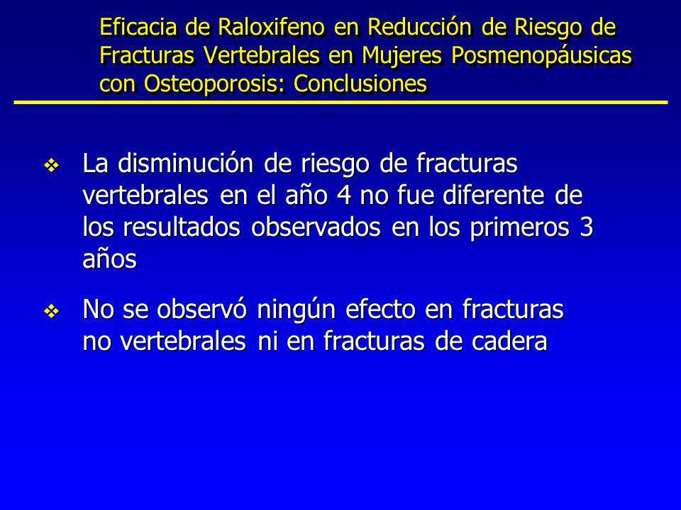 Eficacia de Raloxifeno en Reducción de Riesgo de Fracturas Vertebrales en Mujeres Posmenopáusicas con Osteoporosis: Conclusiones v La disminución de r