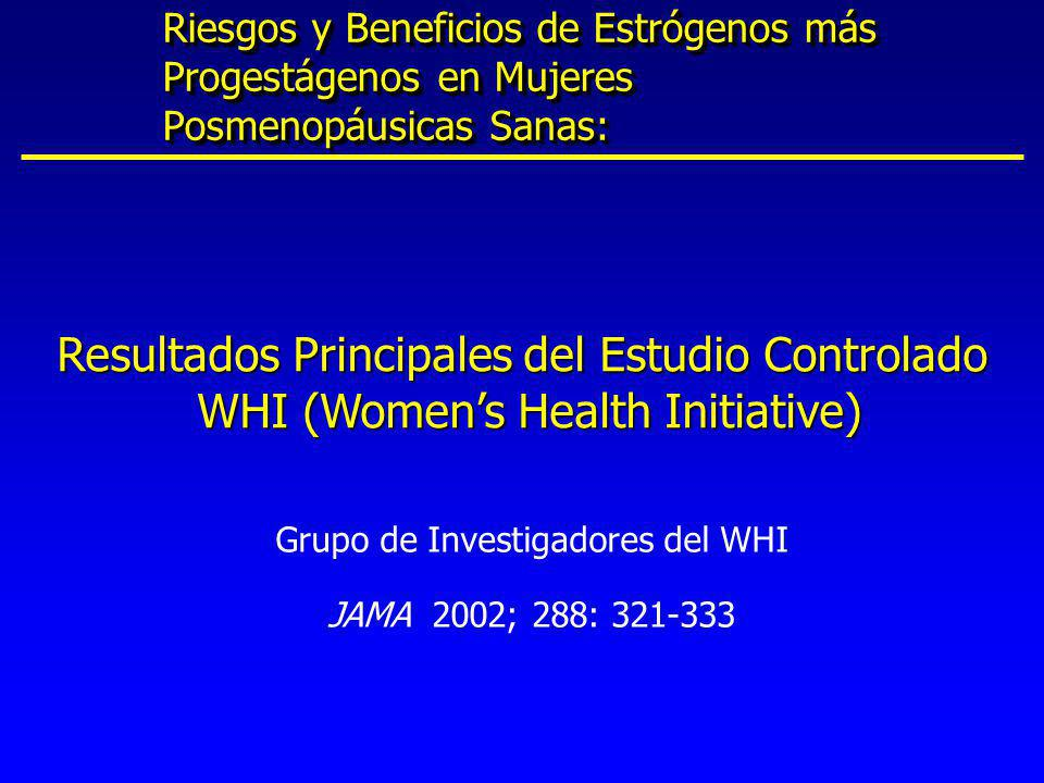 * Significancia estadística de 0.05 v En mujeres posmenopáusicas con útero intacto, la TRH se asocia con : u Disminución de 37% en cáncer colo-rectal* u Disminución de 34% en fracturas de cadera y fracturas vertebrales clínicas* Componente TRH de WHI: Resumen de Resultados a los 5.2 años (Suspensión Temprana) Grupo de Investigadores de WHI.
