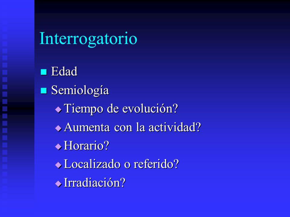 Interrogatorio Edad Edad Semiología Semiología Tiempo de evolución.