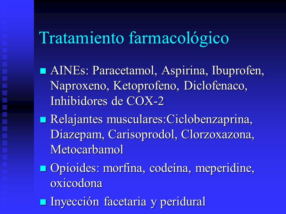 Tratamiento farmacológico AINEs: Paracetamol, Aspirina, Ibuprofen, Naproxeno, Ketoprofeno, Diclofenaco, Inhibidores de COX-2 AINEs: Paracetamol, Aspirina, Ibuprofen, Naproxeno, Ketoprofeno, Diclofenaco, Inhibidores de COX-2 Relajantes musculares:Ciclobenzaprina, Diazepam, Carisoprodol, Clorzoxazona, Metocarbamol Relajantes musculares:Ciclobenzaprina, Diazepam, Carisoprodol, Clorzoxazona, Metocarbamol Opioides: morfina, codeína, meperidine, oxicodona Opioides: morfina, codeína, meperidine, oxicodona Inyección facetaria y peridural Inyección facetaria y peridural