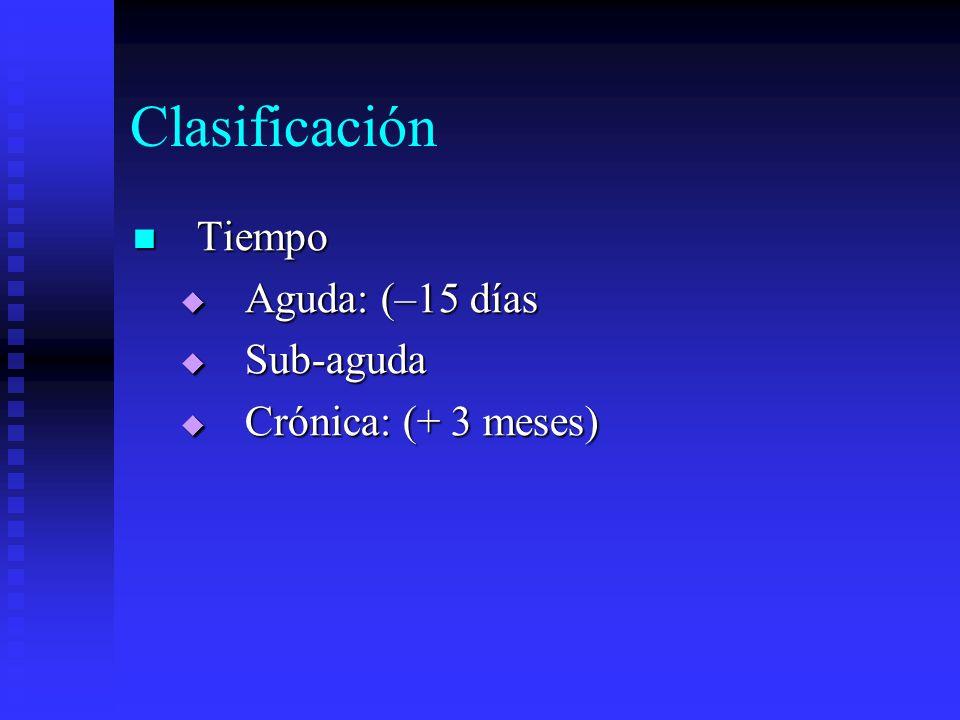 Clasificación Tiempo Tiempo Aguda: (–15 días Aguda: (–15 días Sub-aguda Sub-aguda Crónica: (+ 3 meses) Crónica: (+ 3 meses)