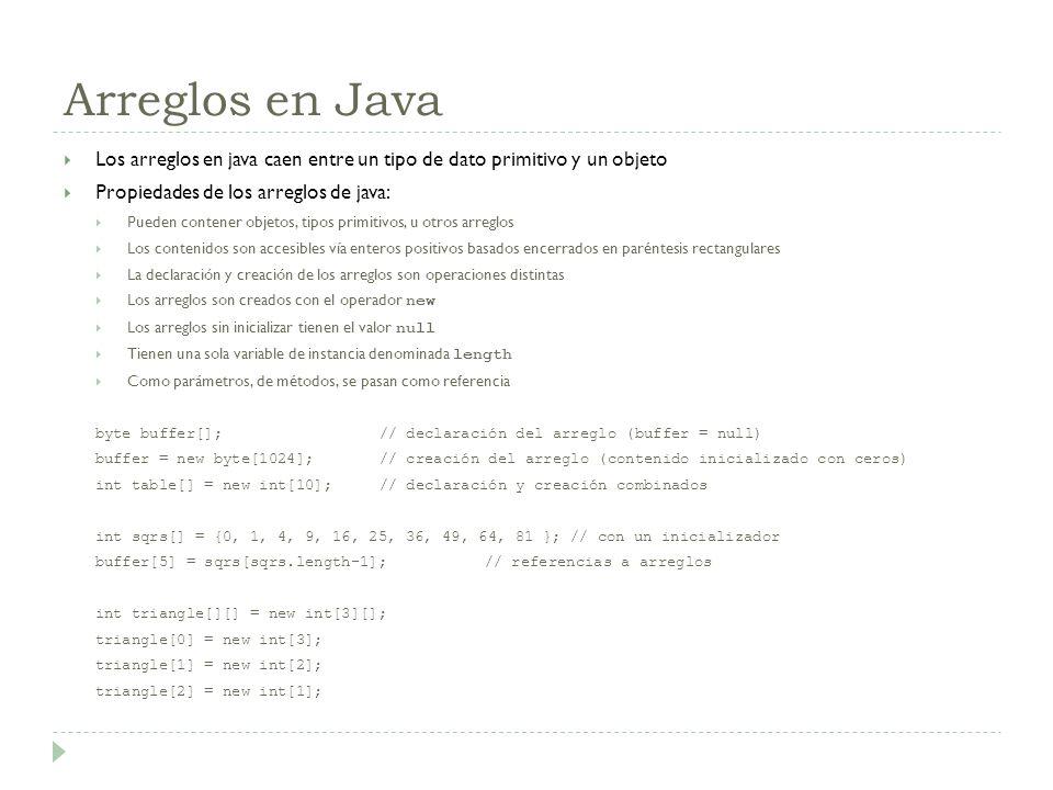 Arreglos en Java Los arreglos en java caen entre un tipo de dato primitivo y un objeto Propiedades de los arreglos de java: Pueden contener objetos, t