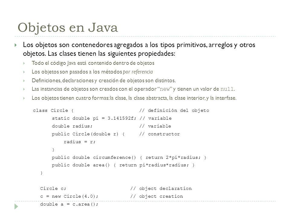 Objetos en Java Los objetos son contenedores agregados a los tipos primitivos, arreglos y otros objetos. Las clases tienen las siguientes propiedades: