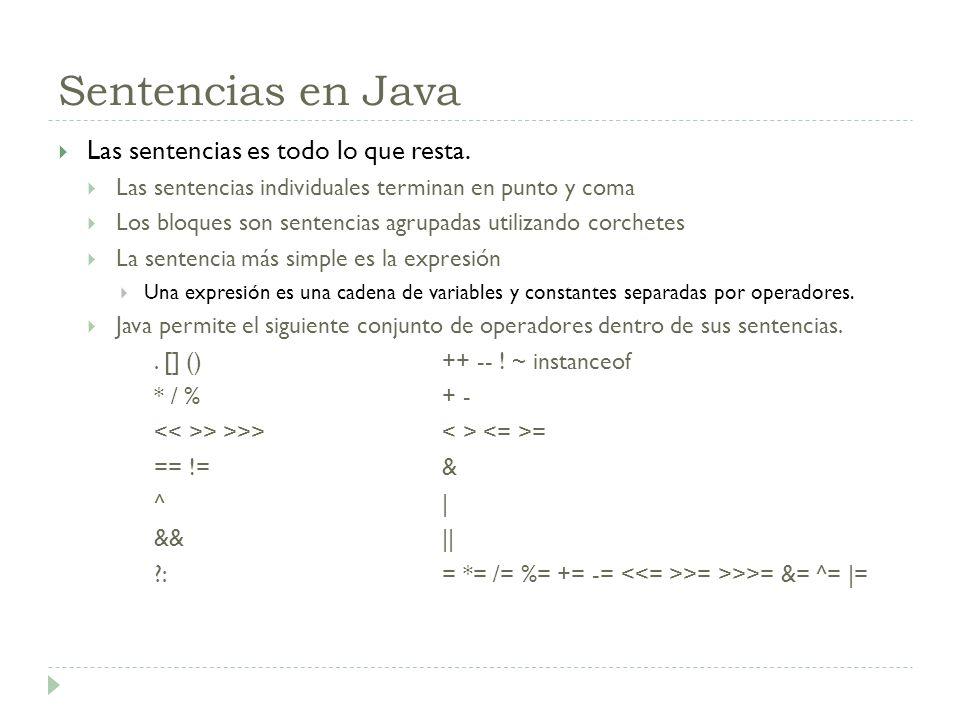 Sentencias en Java Las sentencias es todo lo que resta. Las sentencias individuales terminan en punto y coma Los bloques son sentencias agrupadas util