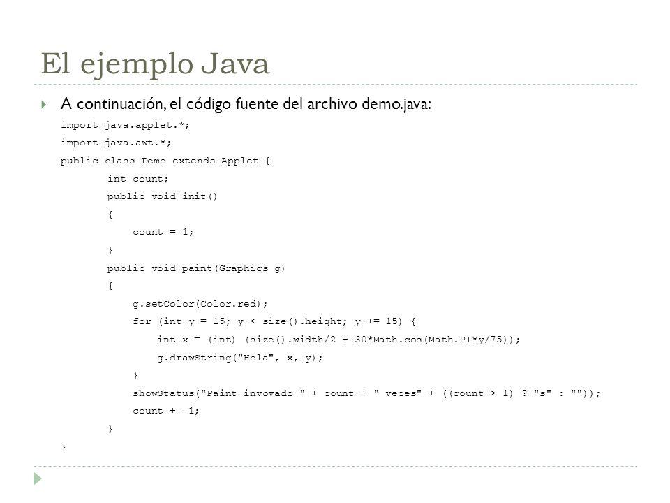 El ejemplo Java A continuación, el código fuente del archivo demo.java: import java.applet.*; import java.awt.*; public class Demo extends Applet { in