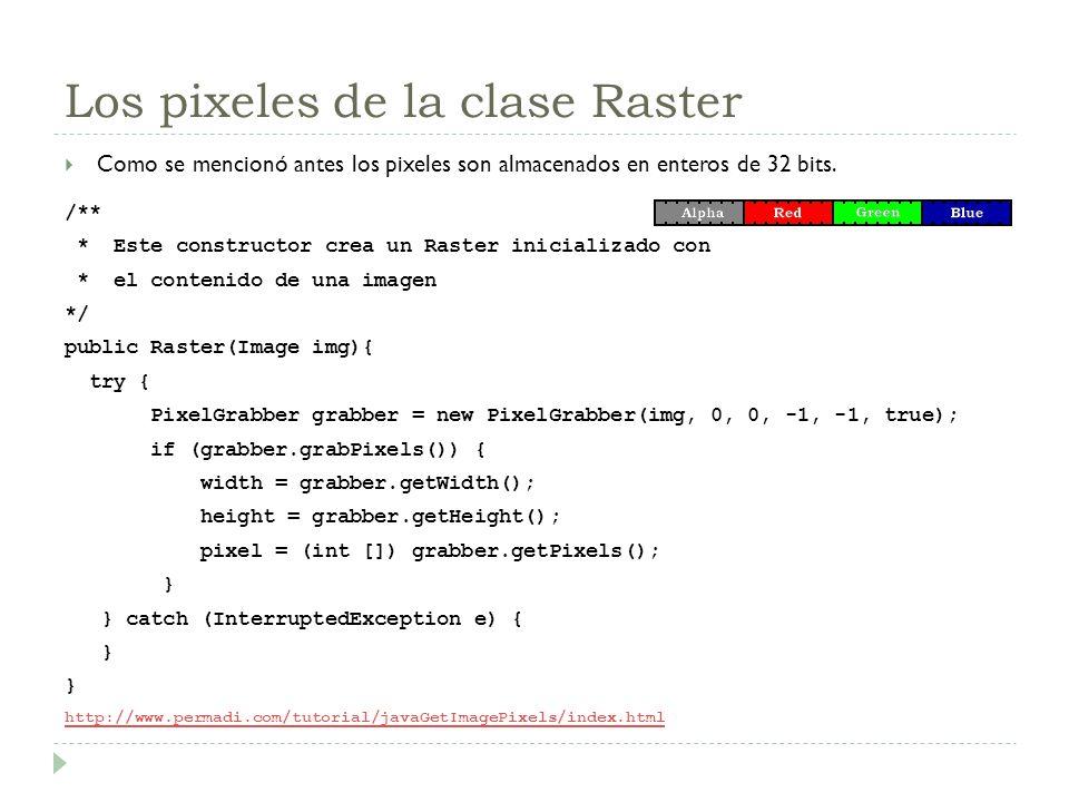 Los pixeles de la clase Raster Como se mencionó antes los pixeles son almacenados en enteros de 32 bits. /** * Este constructor crea un Raster inicial