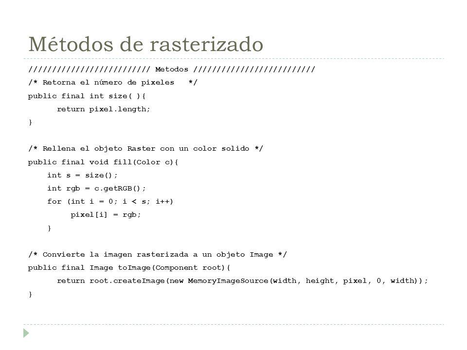 Métodos de rasterizado ////////////////////////// Metodos ////////////////////////// /* Retorna el número de pixeles */ public final int size( ){ retu