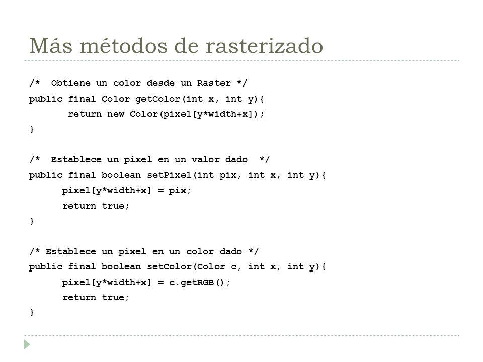 Más métodos de rasterizado /* Obtiene un color desde un Raster */ public final Color getColor(int x, int y){ return new Color(pixel[y*width+x]); } /*