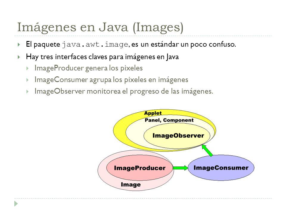 Imágenes en Java (Images) El paquete java.awt.image, es un estándar un poco confuso. Hay tres interfaces claves para imágenes en Java ImageProducer ge
