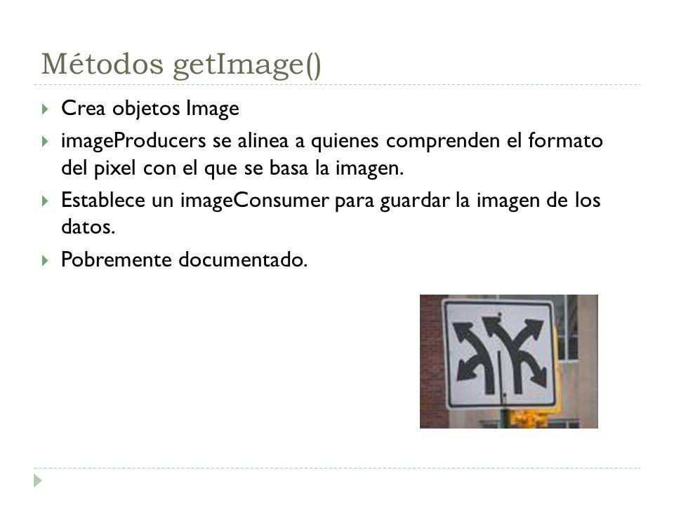 Métodos getImage() Crea objetos Image imageProducers se alinea a quienes comprenden el formato del pixel con el que se basa la imagen. Establece un im