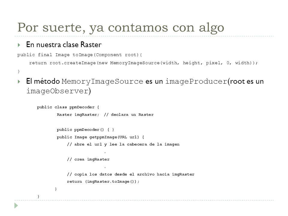 Por suerte, ya contamos con algo En nuestra clase Raster public final Image toImage(Component root){ return root.createImage(new MemoryImageSource(wid