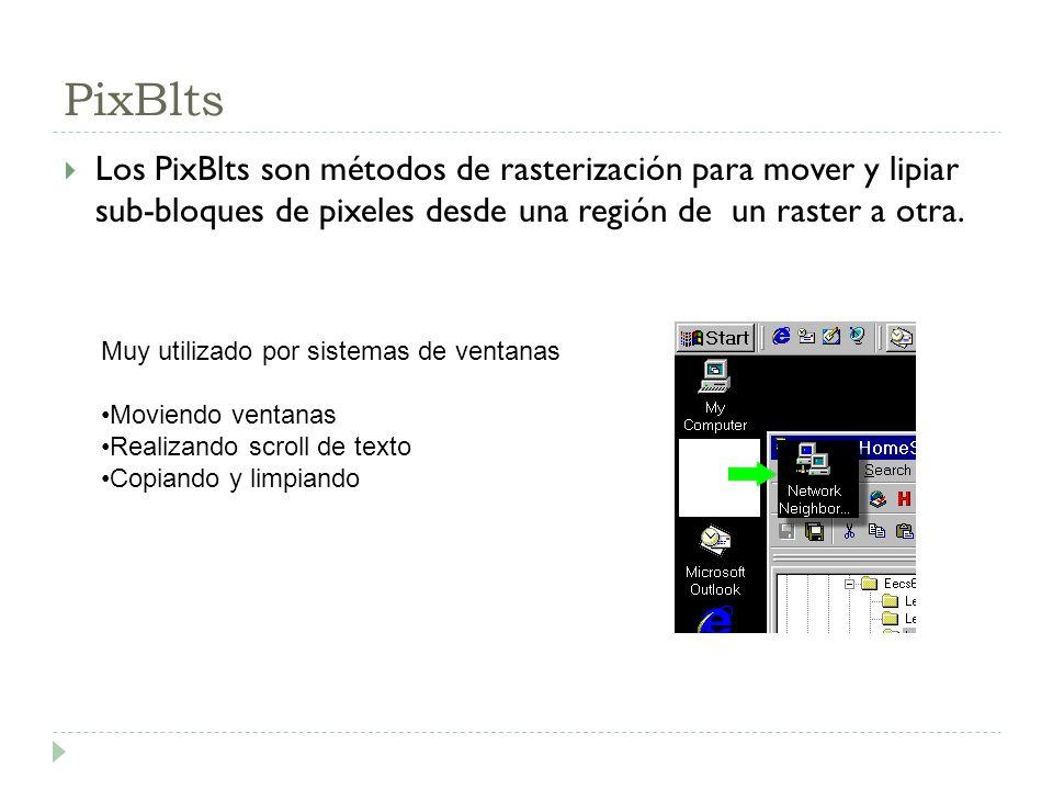 PixBlts Los PixBlts son métodos de rasterización para mover y lipiar sub-bloques de pixeles desde una región de un raster a otra. Muy utilizado por si