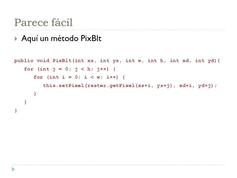 Parece fácil Aquí un método PixBlt public void PixBlt(int xs, int ys, int w, int h, int xd, int yd){ for (int j = 0; j < h; j++) { for (int i = 0; i <