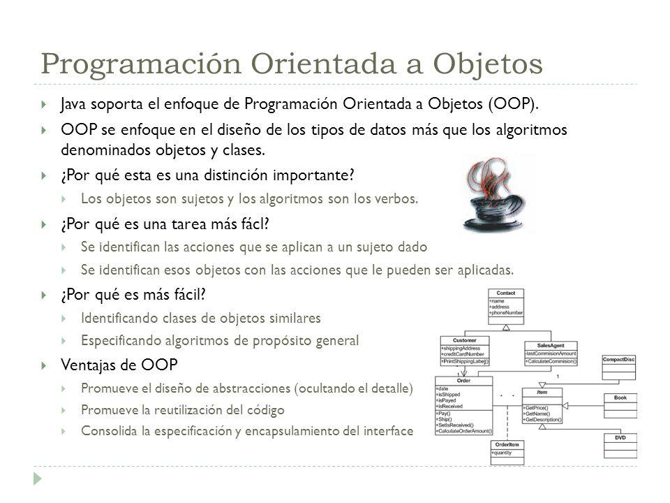 Programación Orientada a Objetos Java soporta el enfoque de Programación Orientada a Objetos (OOP). OOP se enfoque en el diseño de los tipos de datos